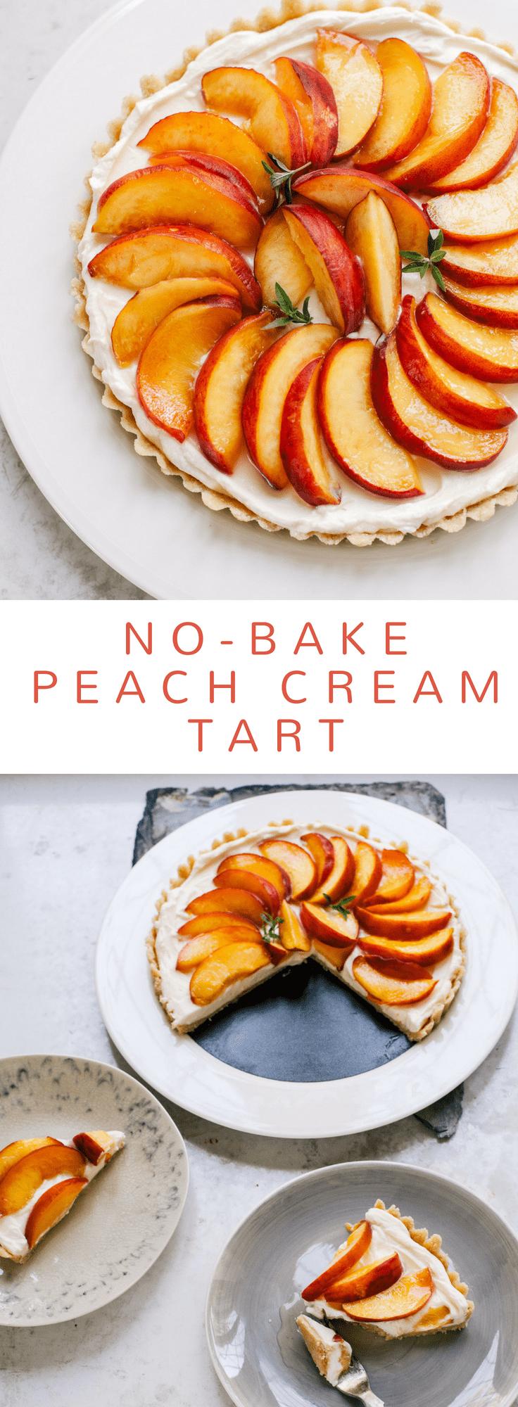 Easy No-Bake Peach Cream Tart #peach #summer #dessert #glutenfree