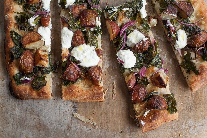 Potato Pan Pizza with Kale and Ricotta