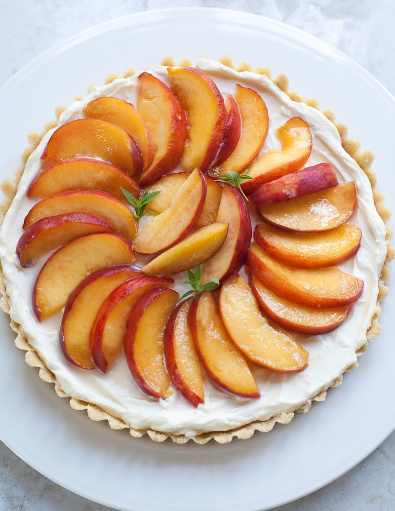 prosecco peach cream tart | familystyle food