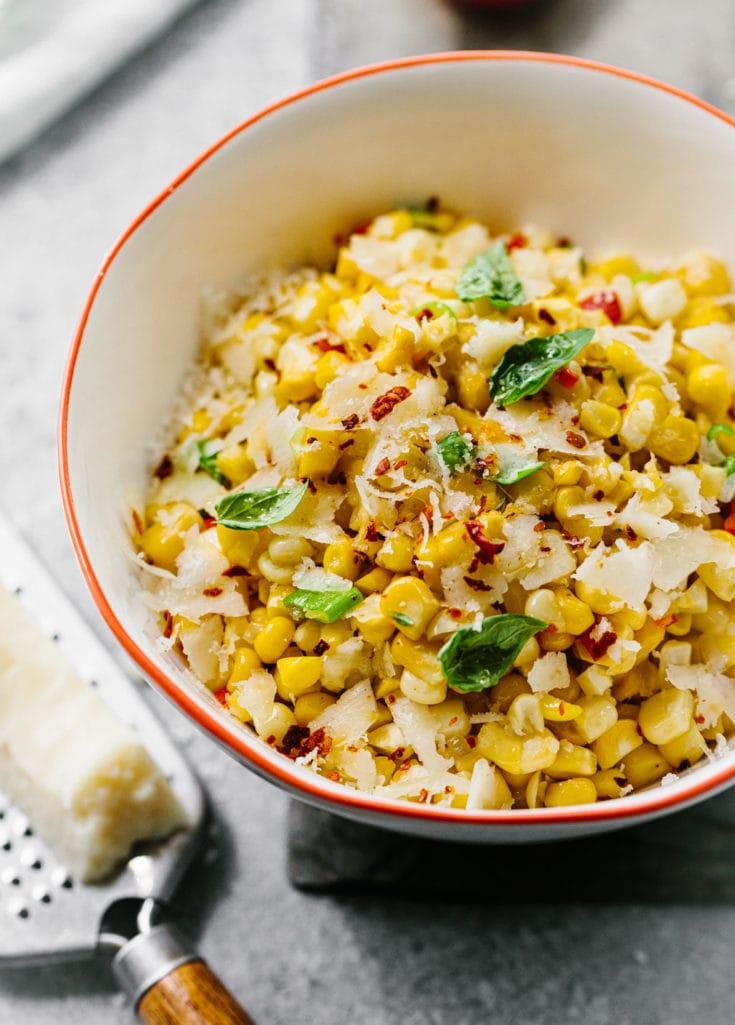 Italian Sweet Corn Salad with Pecorino Cheese