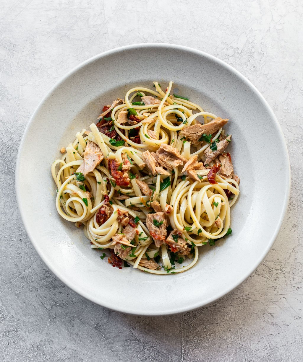 Pantry Tuna Pasta with Garlic Olive Oil
