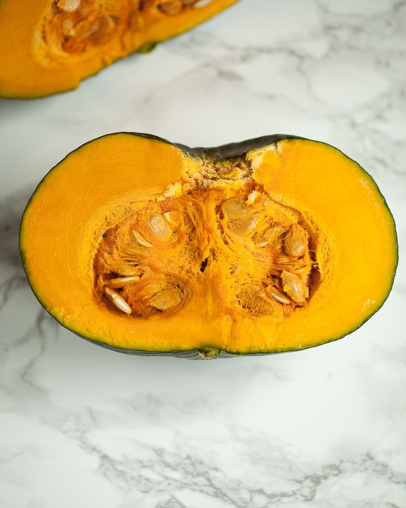 kabocha squash cut in half