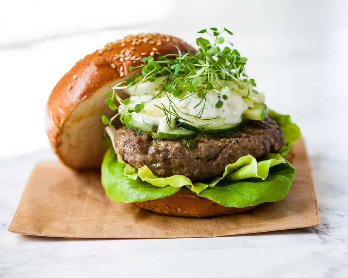 Spiced Lamb Burgers with Fennel Slaw