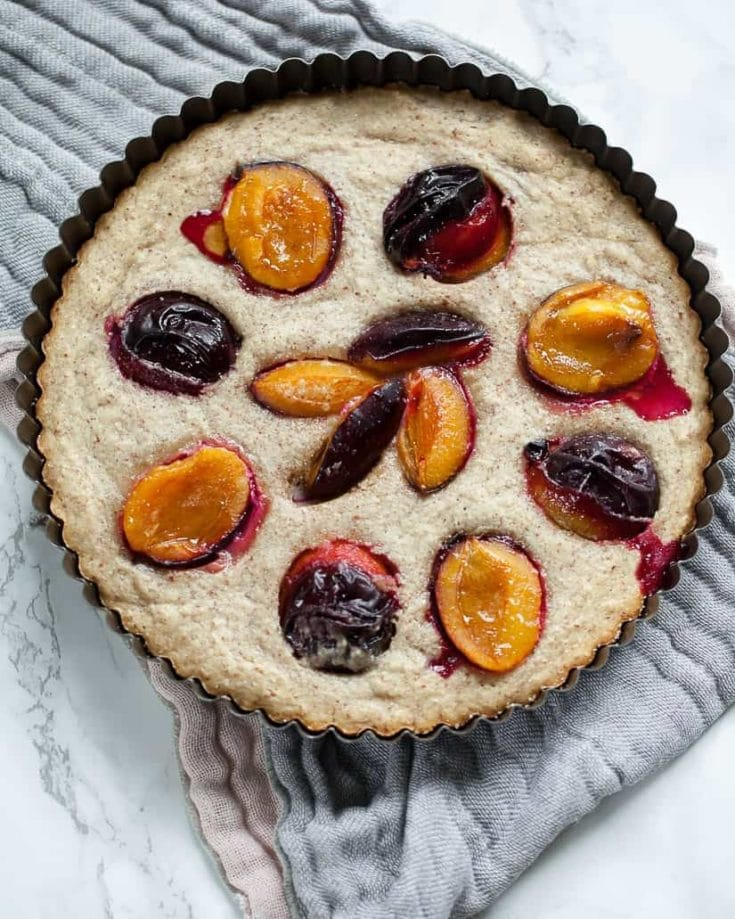 Simple French Almond Cake with Plums