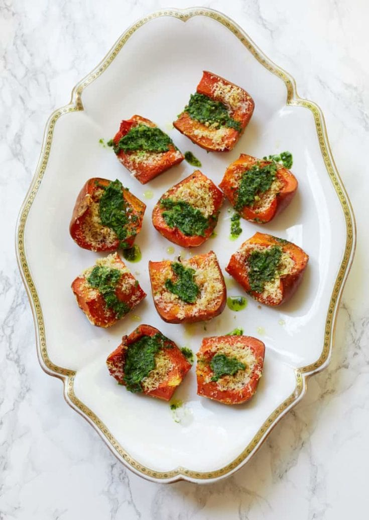 Parmesan Roasted Butternut Squash with Salsa Verde