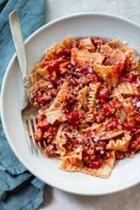 Weeknight Bolognese Sauce with Broken Lasagna Pasta