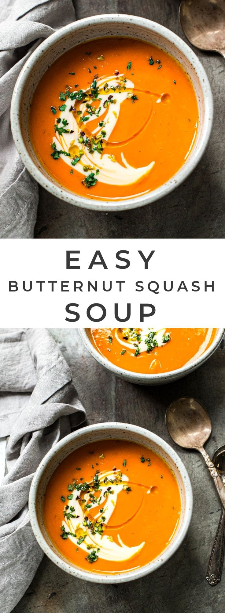 Creamy, Dreamy Vegan Butternut Squash Soup with Ginger and Orange #easy #recipe