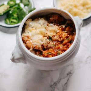 white bean chicken chili with chorizo spices and cheddar