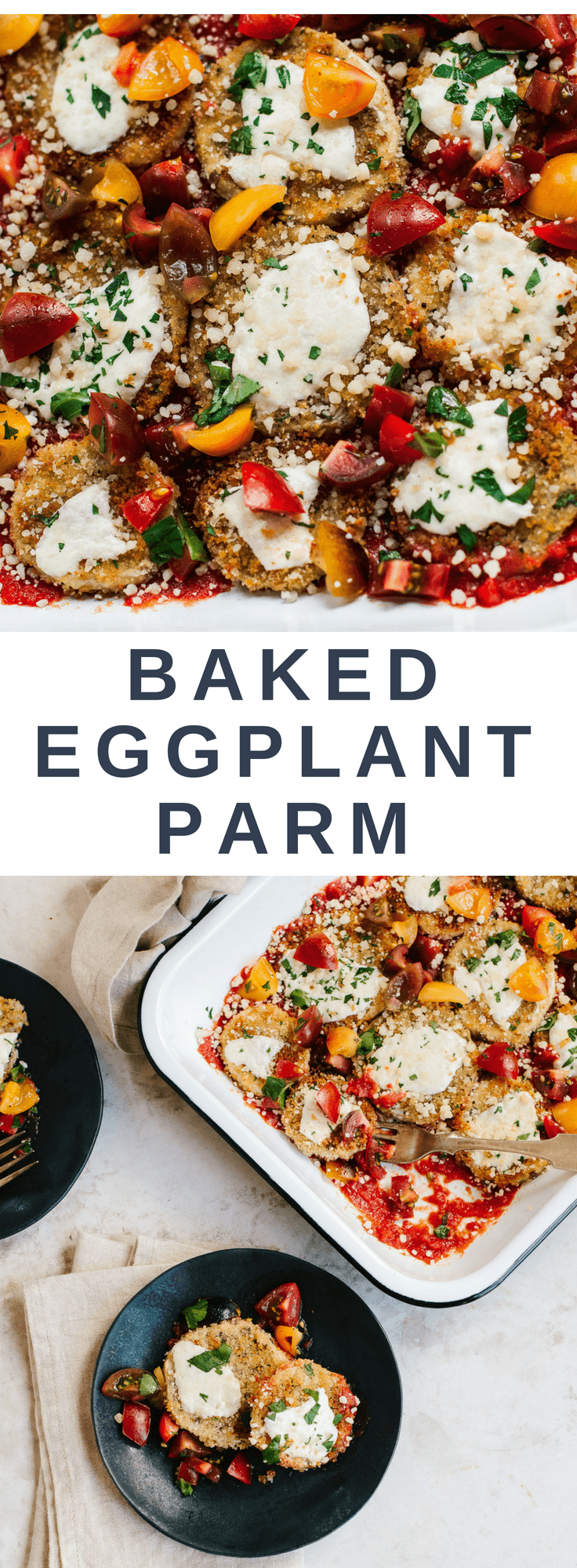 Healthier Baked Eggplant Parm with Tomato-Basil Salad #sheetpan #healthy #comfortfood #vegetarian #lowcarb