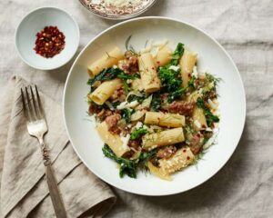rigatoni with spicy sausage, fennel and broccoli rabe