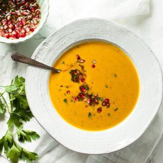creamy sweet potato soup with pomegranate salsa