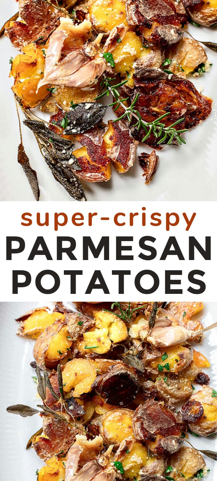 Crispy Smashed Potatoes with Parmesan and Garlic