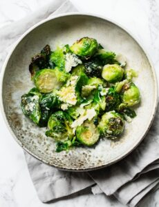 Easy Parmesan Crusted Roasted Brussels Sprouts