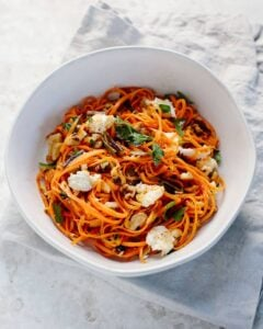 grated carrot salad with charred scallions, walnuts and fresh mozzarella