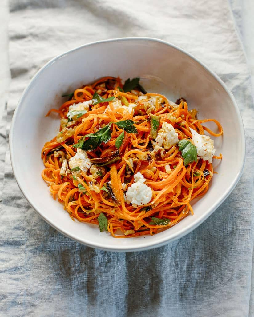 grated carrot salad with roasted scallions, walnuts and fresh mozzarella
