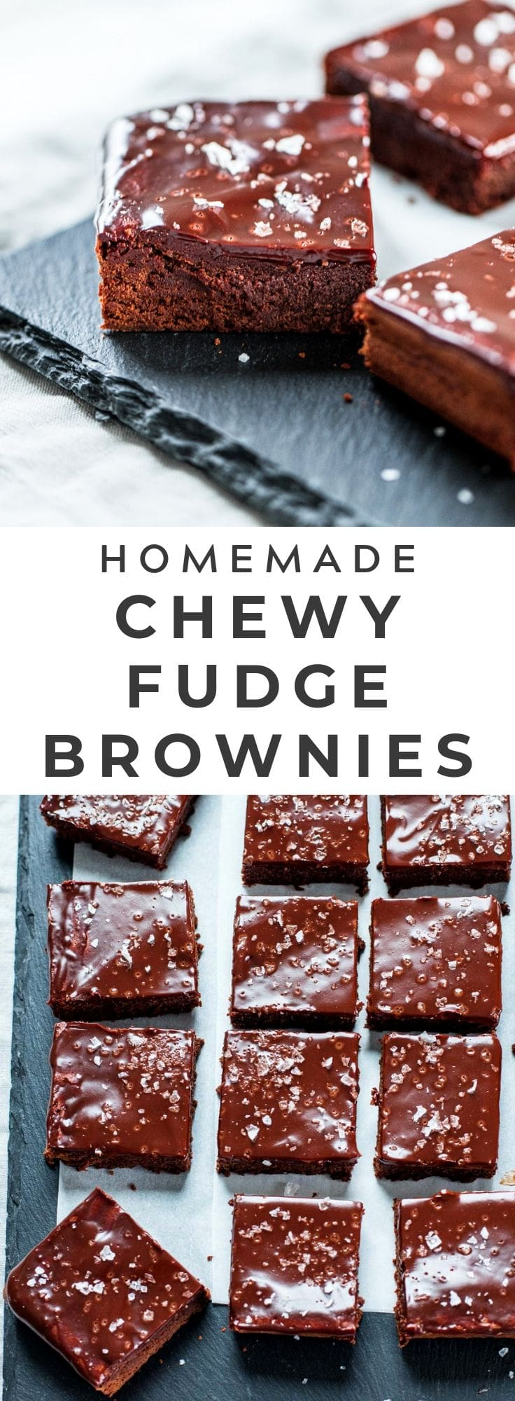 The BEST chewy fudge brownies from scratch, glazed with chocolate and sea salt