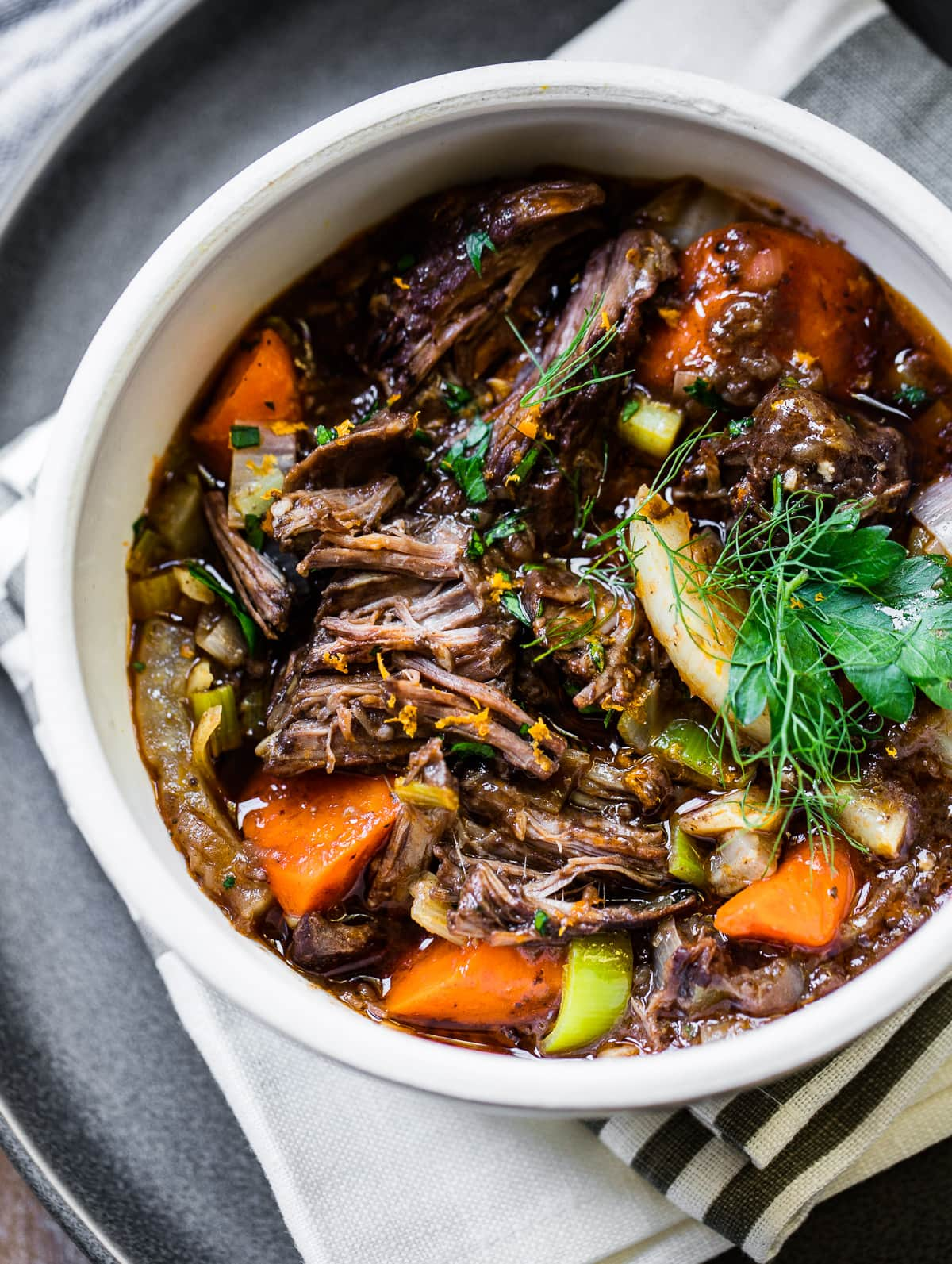 Slow Cooked French Beef Stew With Red Wine Familystyle Food