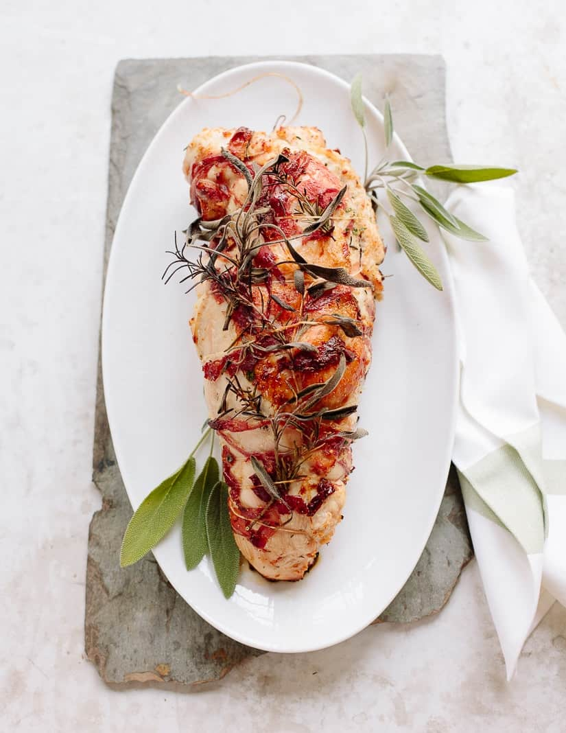 roast turkey breast stuffed with rosemary sage brioche breadcrumbs and wrapped in prosciutto