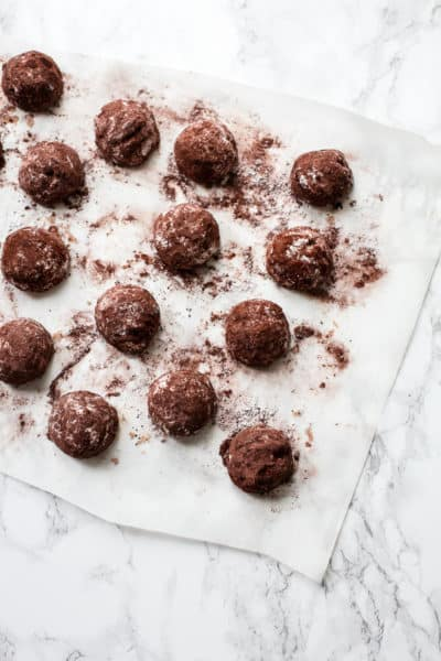 cocoa and hazelnut butter ball cookies