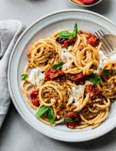 Bucatini Pasta with Sicilian Almond Pesto and Roasted Tomatoes