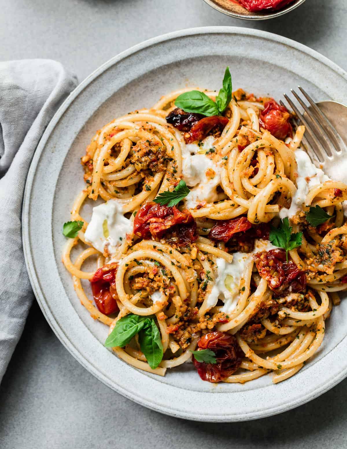 Bucatini Pasta with Sicilian Tomato Almond Pesto and Burrata Cheese