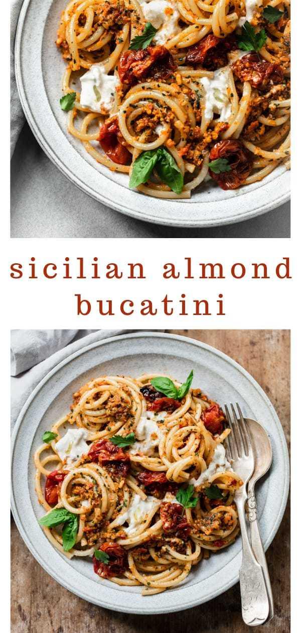Bucatini with Sicilian Almond Pesto and Burrata Cheese