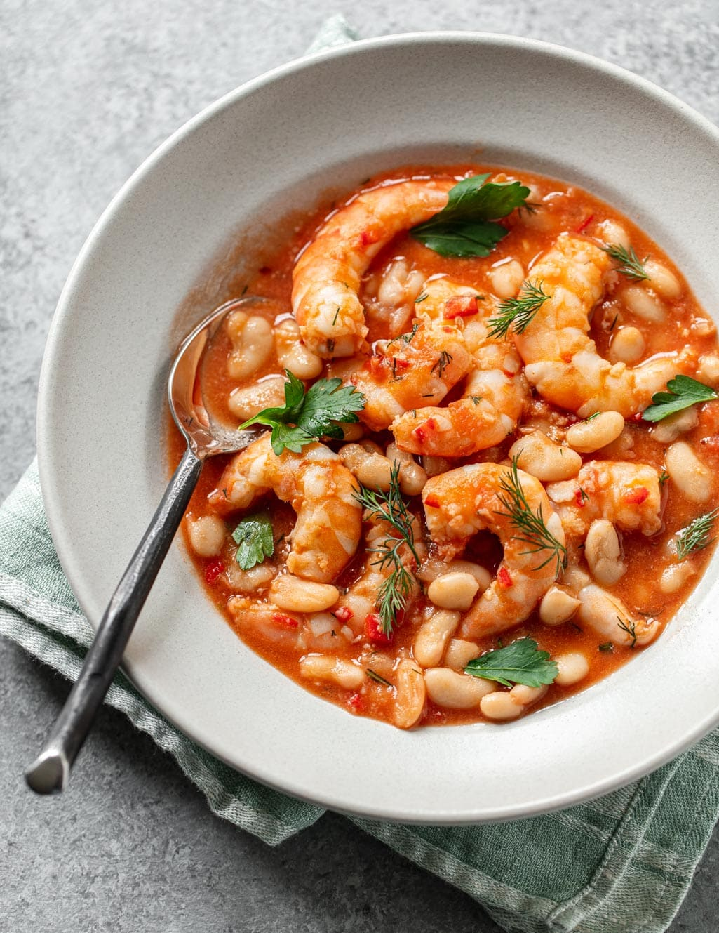 Spicy Garlic Shrimp with Rosemary White Beans