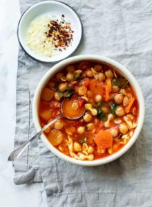 Chickpea and Pasta Vegetable Soup (pasta e fagioli)