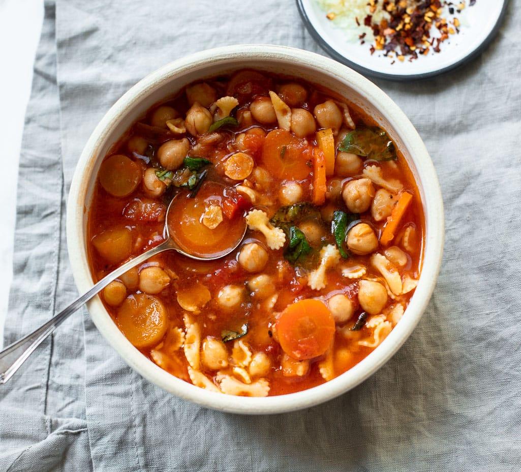 Chickpea and Pasta Vegetable Soup (pasta e fagioli)