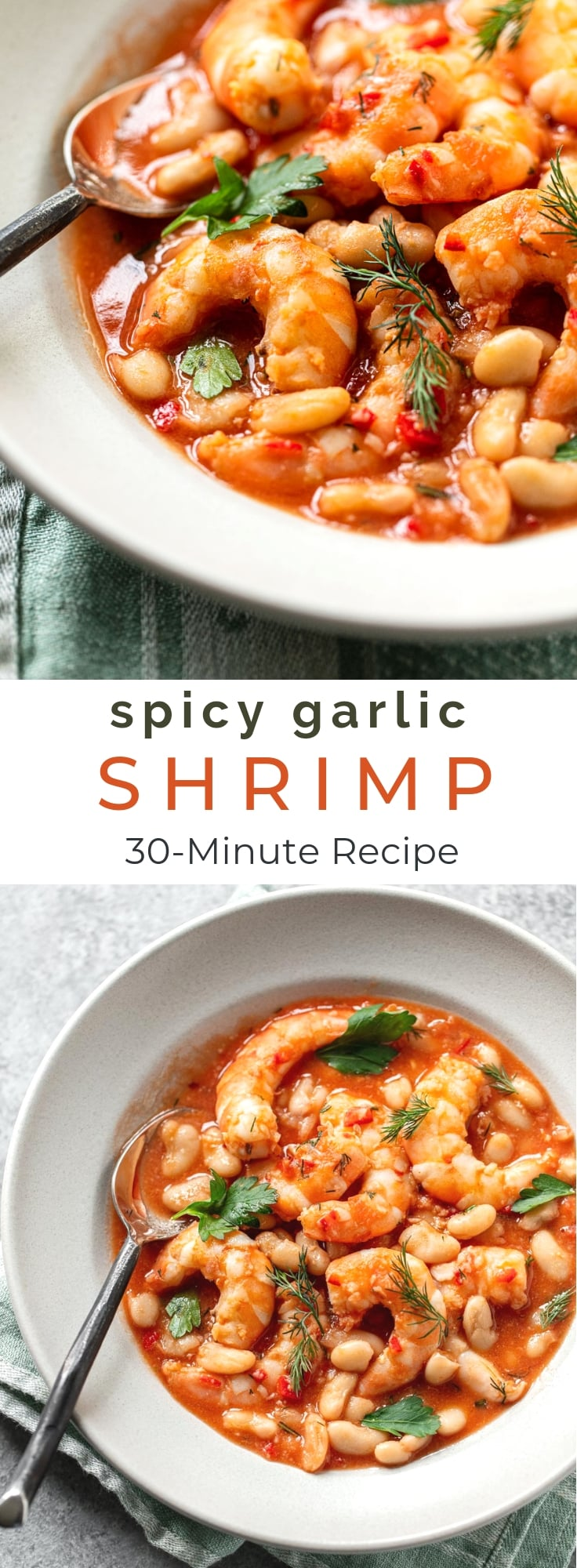 Quick, Spicy Garlic Shrimp with Rosemary Cannellini Beans