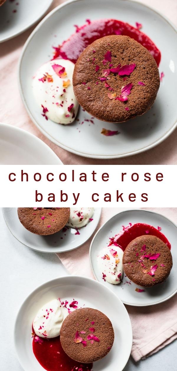 Individual Chocolate Baby Cakes with Rosewater Mascarpone