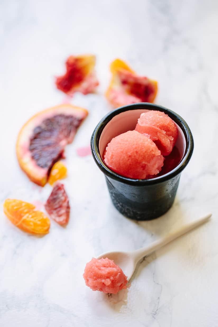 Homemade fresh tangerine and blood orange sorbet is a beautiful winter dessert