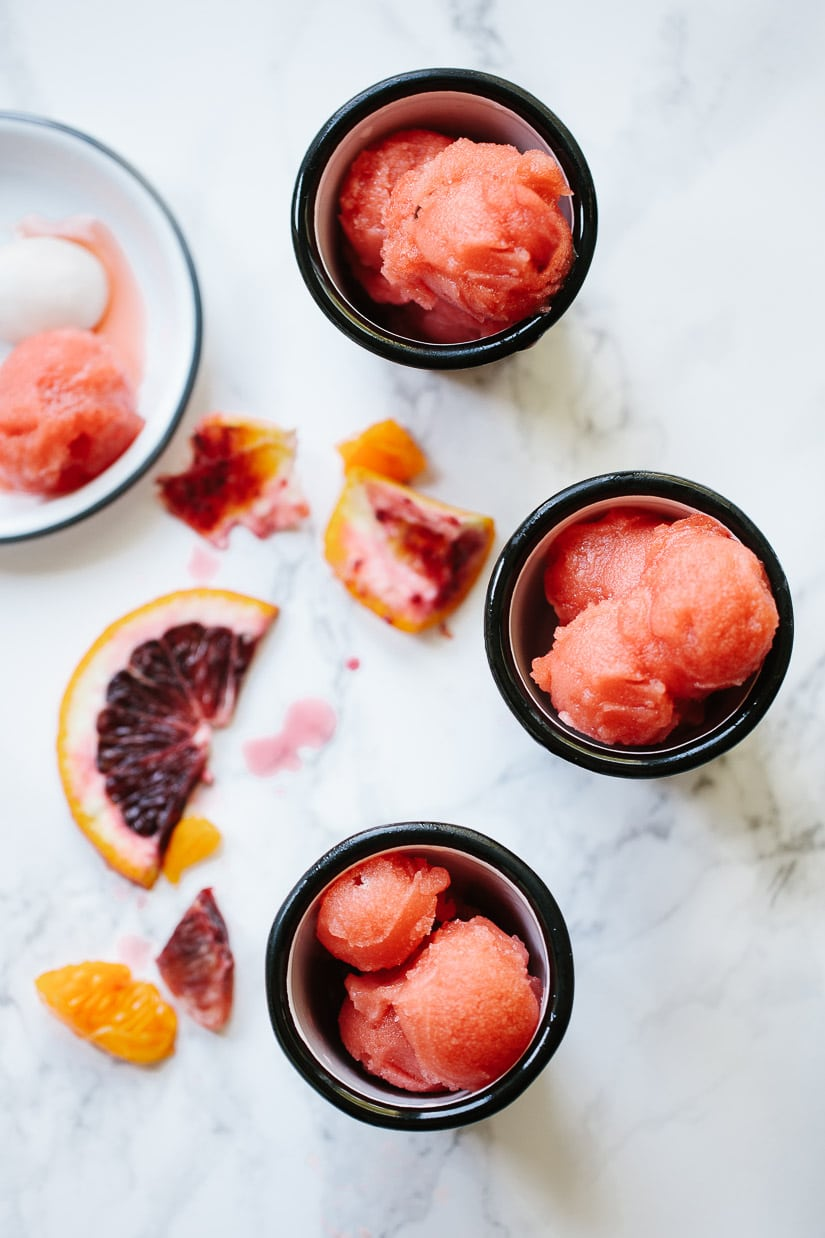 Tangerine and blood orange sorbet - a beautiful winter frozen dessert you can make with or without and ice cream maker