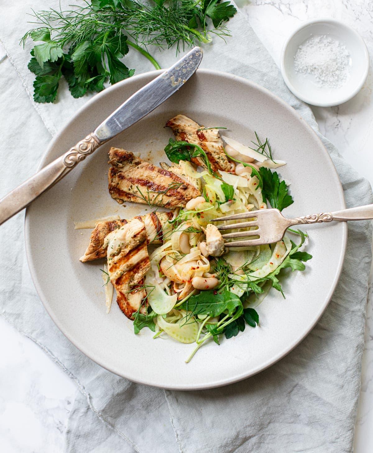 Grilled Buttermilk Chicken with Fennel Salad