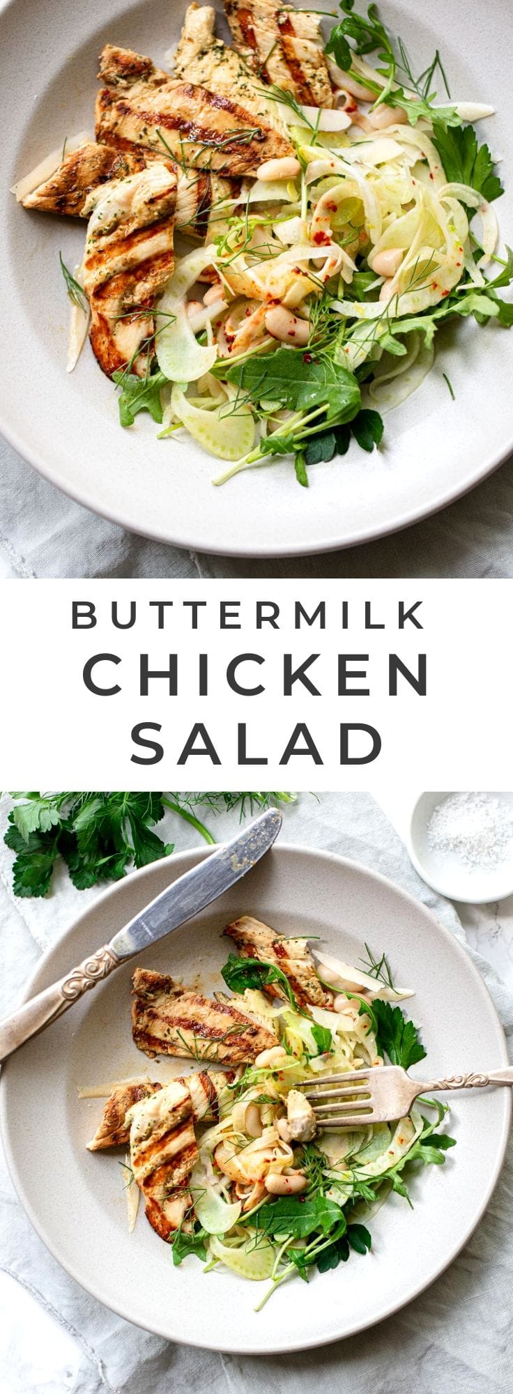 Grilled Buttermilk Chicken Breast with Fennel Salad: Fresh, easy low-carb and gluten-free meal on one plate.