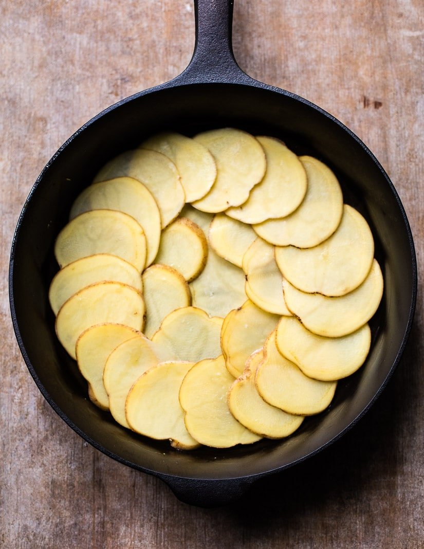 Sliced potatoes for French potato cake