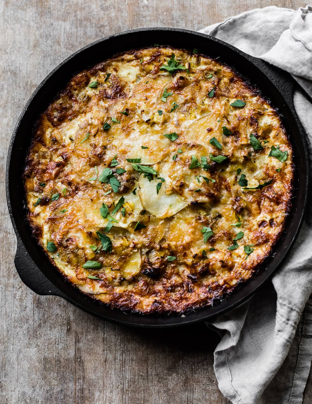 French Potato Cake with Leeks and Gruyere Cheese