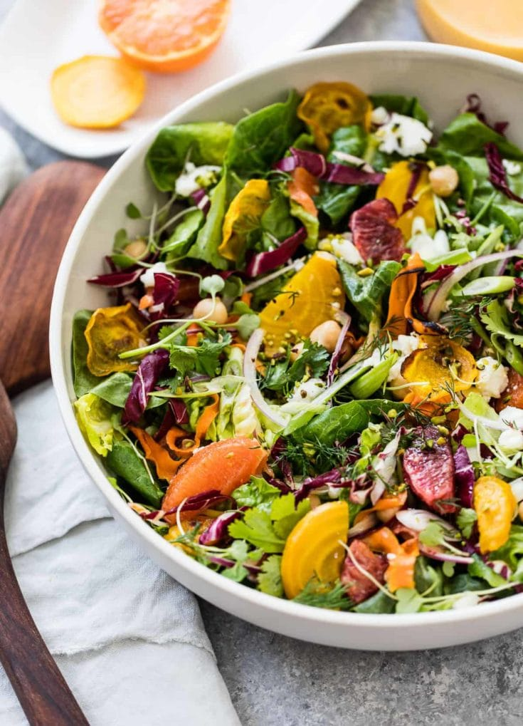 Citrus Beet Salad with Roasted Carrots and Goat Cheese