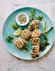 Whole 30 Ginger-Lime Chicken Skewers with Coconut Gremolata