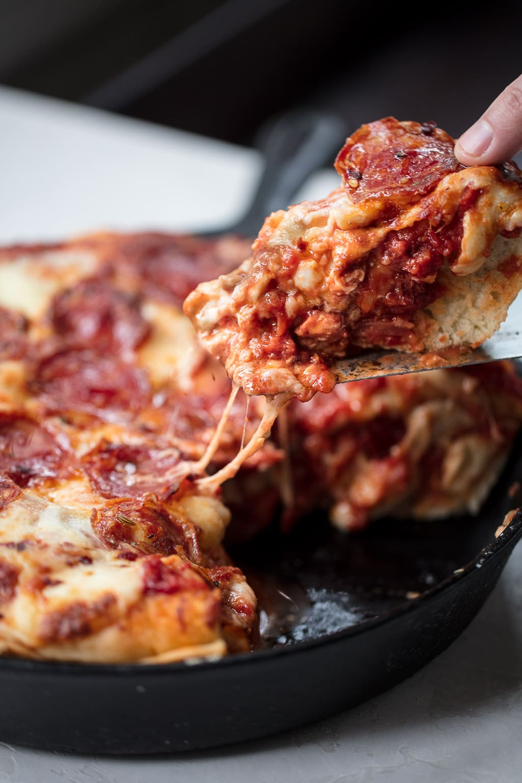 Stuffed Deep Dish Pizza with Spicy Salami