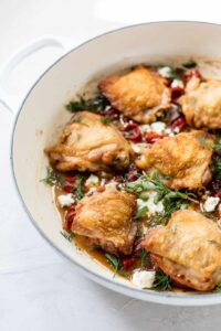 One-pot Greek chicken with feta, oregano and red peppers