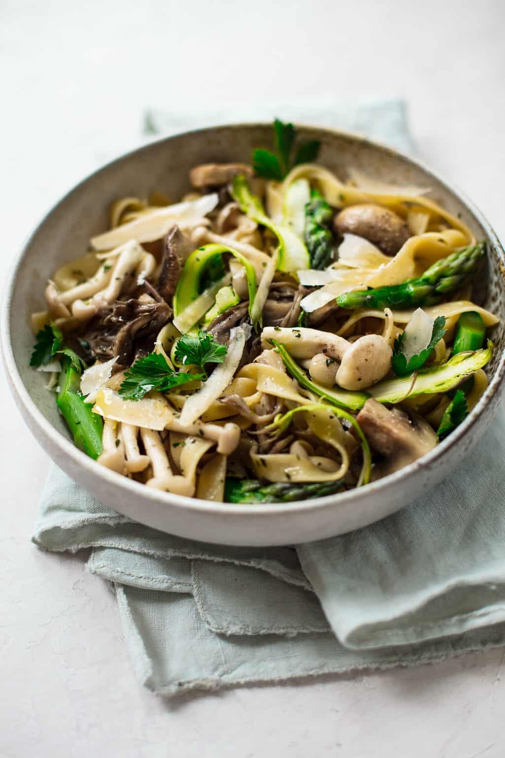 Asparagus Wild Mushroom Tagliatelle Pasta
