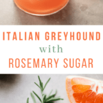 Italian Gin Greyhound Cocktail with Rosemary Sugar #drinks #cocktails #gin #aperol