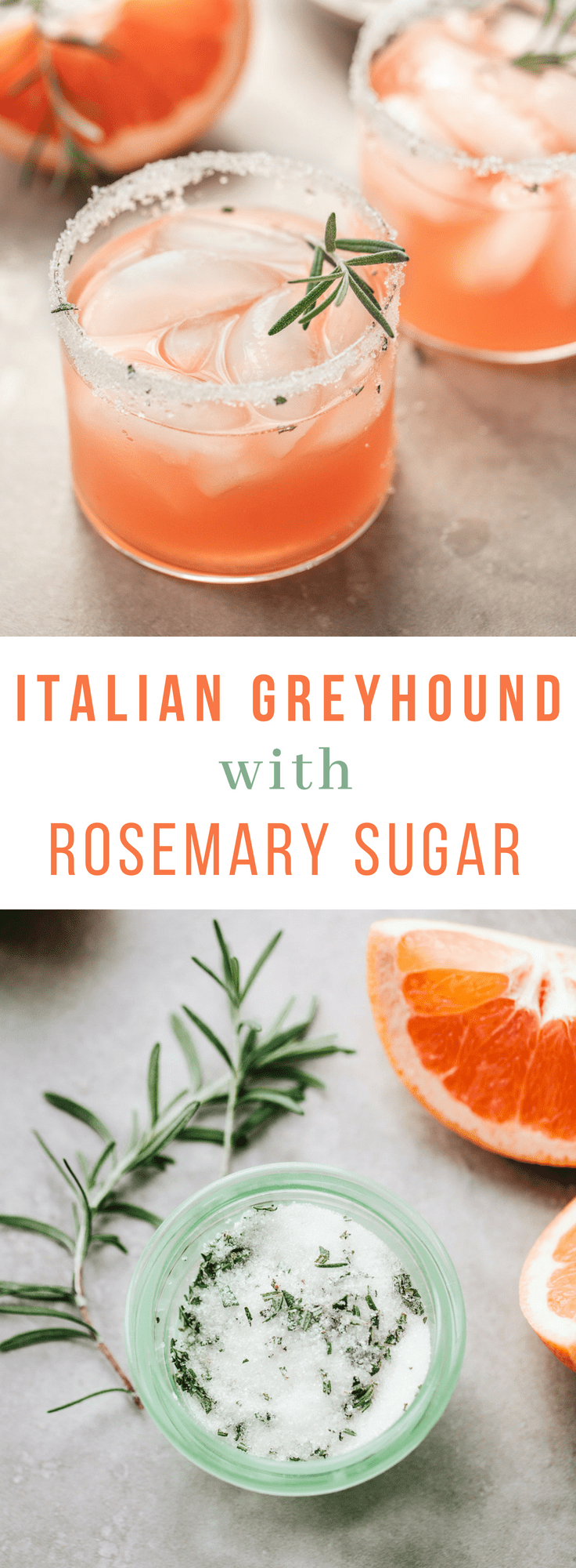 Italian Gin Greyhound Cocktail with Rosemary Sugar #grapefruit #drinks #cocktails #gin #aperol #party #recipe