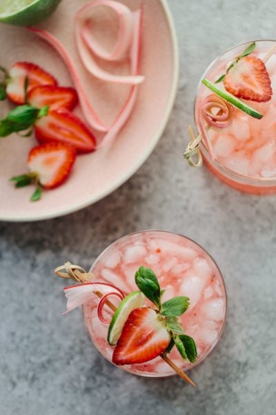 Strawberry Rhubarb Gin Rickey Cocktail