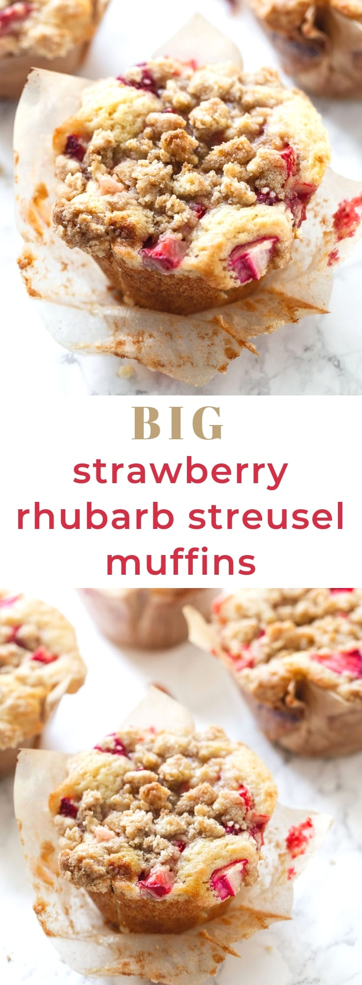 Big Strawberry Rhubarb Buttermilk Muffins with Brown Sugar Streusel