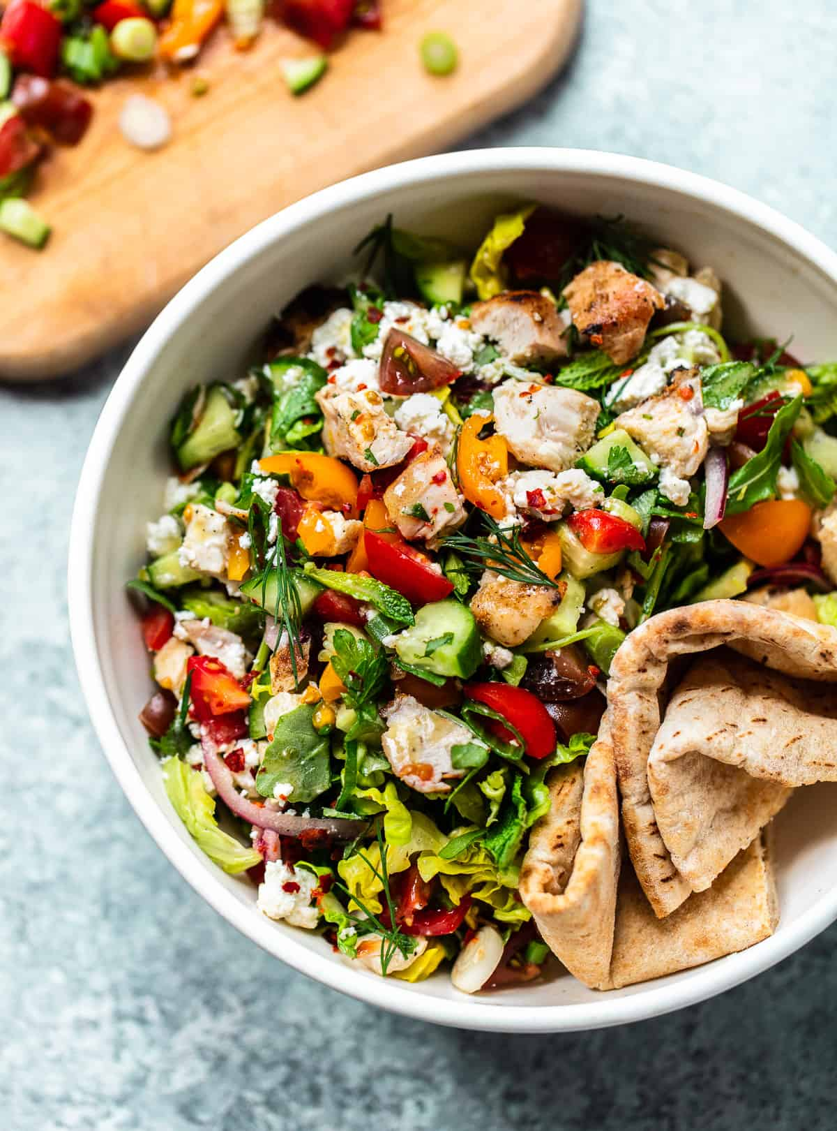 Chopped Chicken Shawarma Salad with Feta