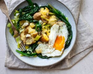Warm Ramp Leaves Salad with New Potatoes, Leeks and Olive Oil-Fried Egg