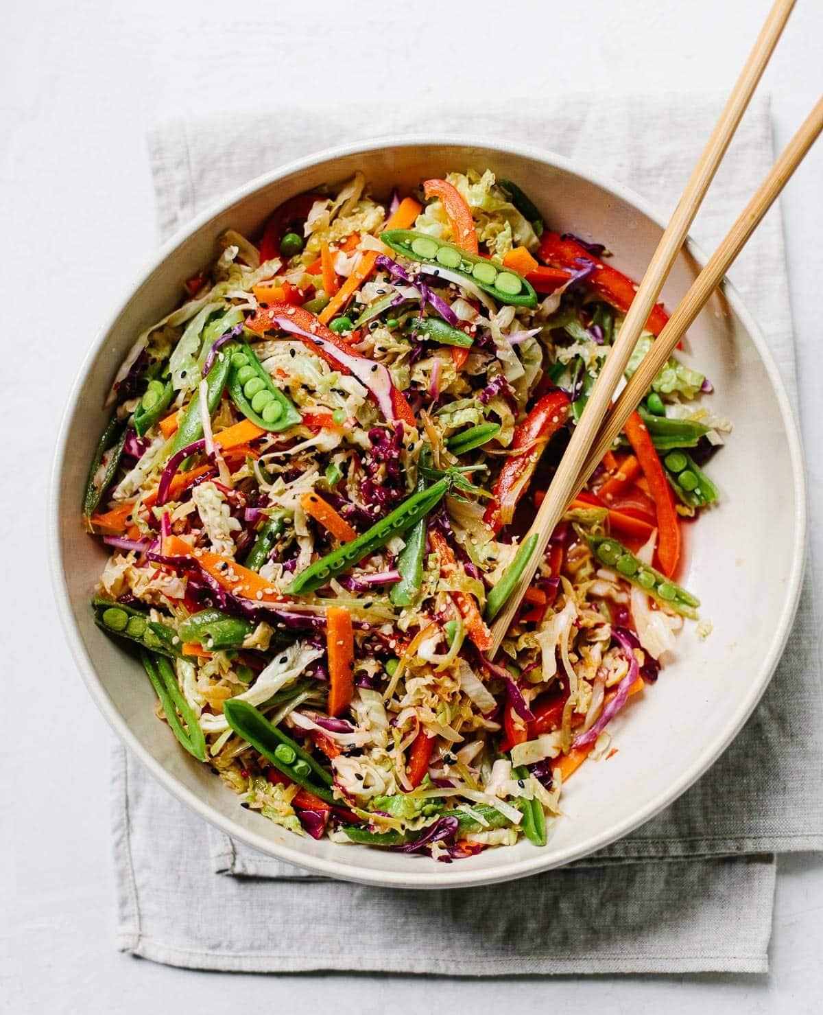 Asian Vegetable Slaw with Ginger Dressing
