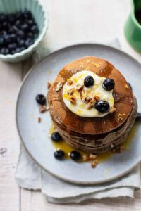 Buckwheat Pancakes with Blueberries, Pecans and Salted Butter Maple Syrup